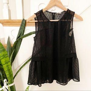 J.Crew Swiss dot sheer peplum blouse black sz 00